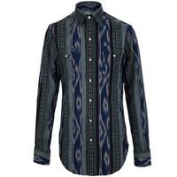 拉夫·劳伦(Ralph Lauren)男士印花条纹长袖衬衫