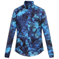 范思哲Versace 男士印花长袖衬衫