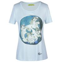 范思哲Versace 女款蓝色圆领长袖T恤