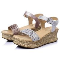 百丽 夏季人造革女凉鞋