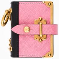 普拉达Prada 粉色挂链记事本