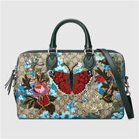 古驰 GG 花卉图案手提包