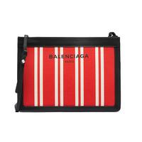 巴黎世家(BALENCIAGA)2014海军条纹棉麻帆布手拿包