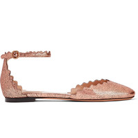 CHLOé 扇贝边金属感裂纹皮革芭蕾平底鞋
