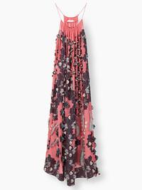 CHLOé蔻依Maxi花朵图案提花fil coupé装饰连衣裙