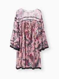 CHLOé蔻依织纹质感真丝绉纱钟形袖连衣裙
