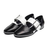 ST&SAT牛皮方头单鞋