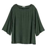 H&M 粘纤绉织短袖宽松上衣