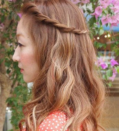 2款中长发中分刘海编发,最简单图片